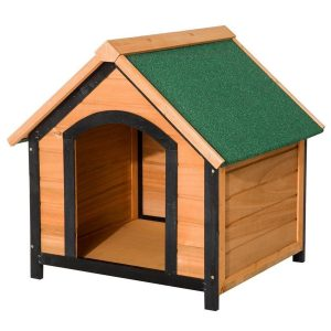 Caseta de perro de madera maciza